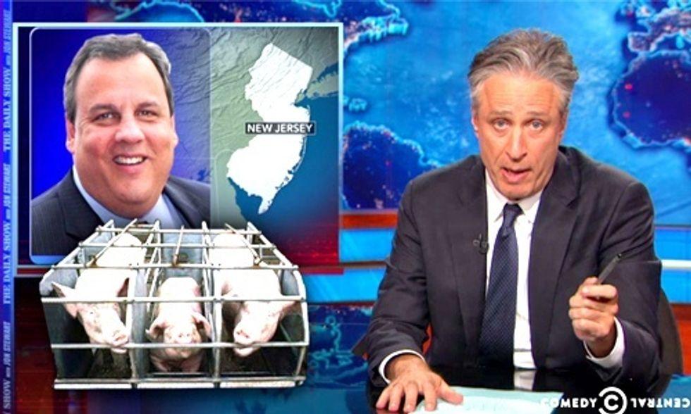 Jon Stewart Rips Gov. Christie for Political Favors to Hog Industry Cronies