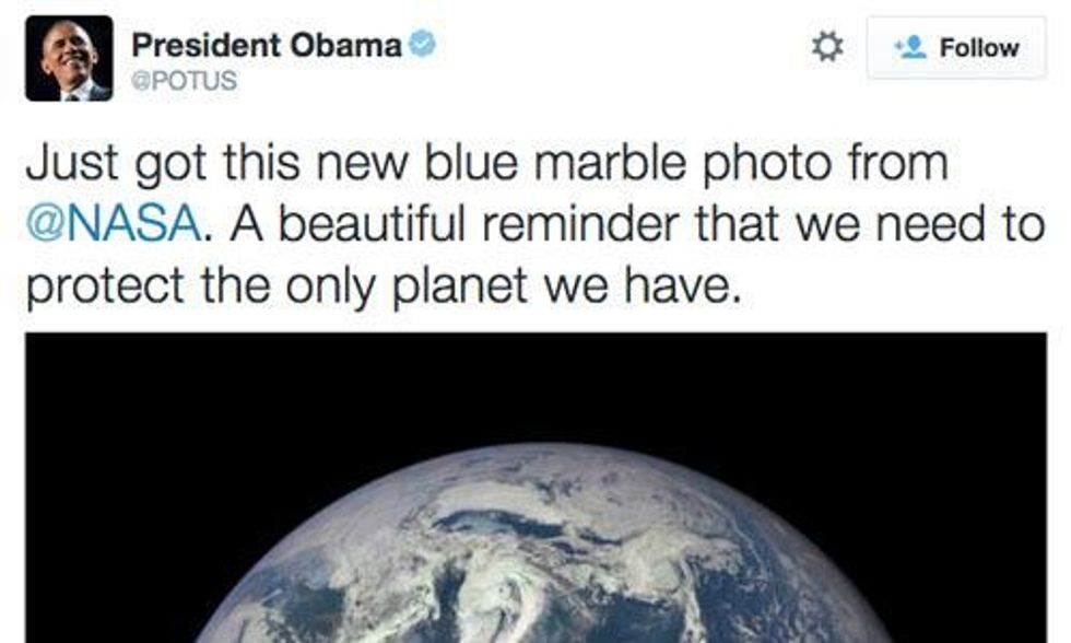 President Obama Tweets First Blue Marble Photo in 43 Years