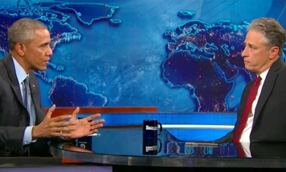 President Obama: 'I'm Issuing a New Executive Order That Jon Stewart Cannot Leave the Show'