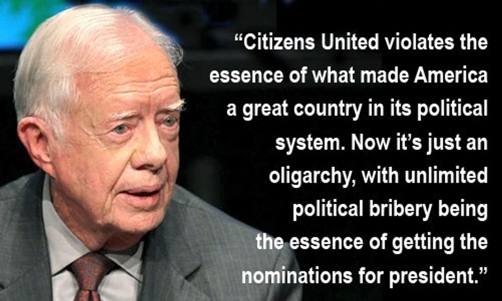 Jimmy Carter: The U.S. Is an 'Oligarchy With Unlimited Political Bribery'