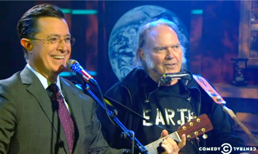 MUST-SEE: Stephen Colbert and Neil Young Sing 'Who's Gonna Stand Up?'