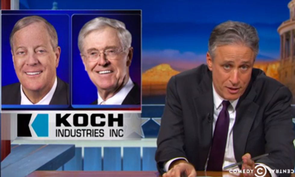 Watch Jon Stewart Welcome His Newest Advertiser: The Koch Brothers