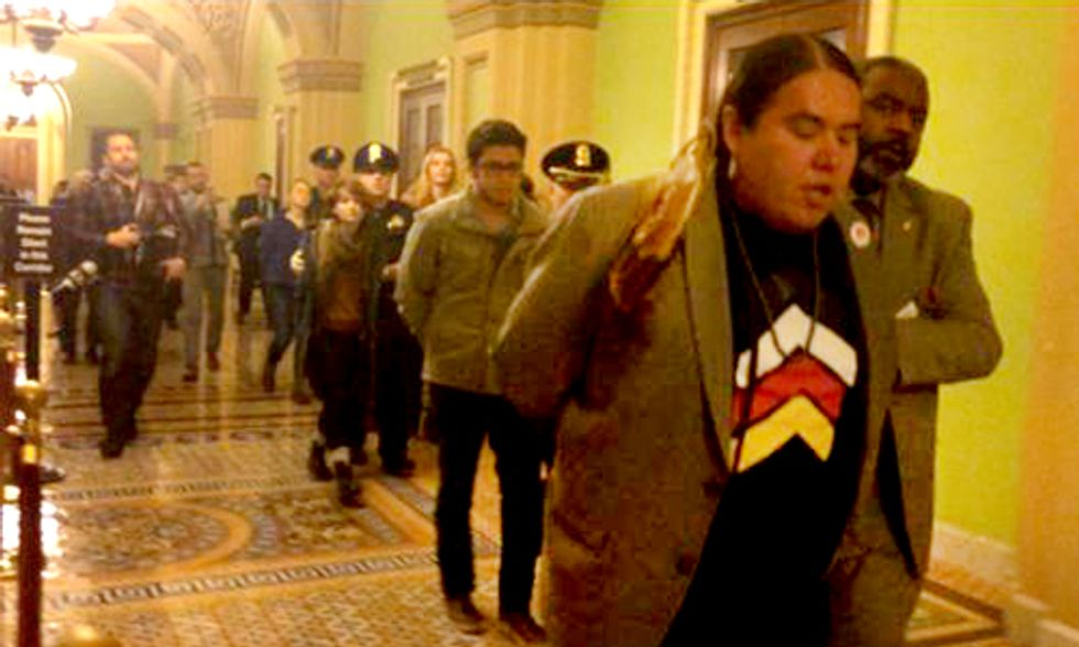 Native Americans Arrested Following Keystone XL Pipeline Vote