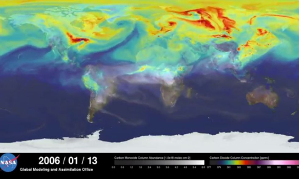 Stunning NASA Video Illustrates a Year's Worth of Global Carbon Emissions