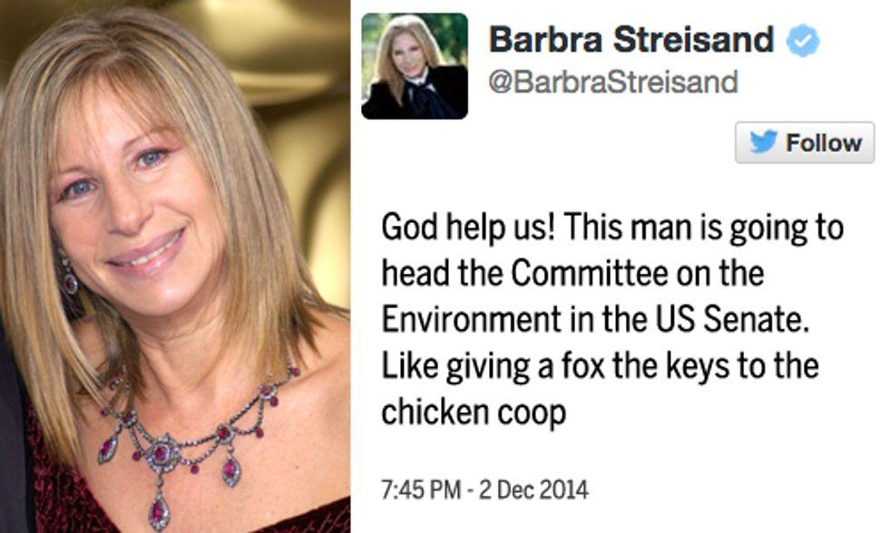 Barbra Streisand: 'God Help Us!' Sen. Inhofe to Head Committee on Environment