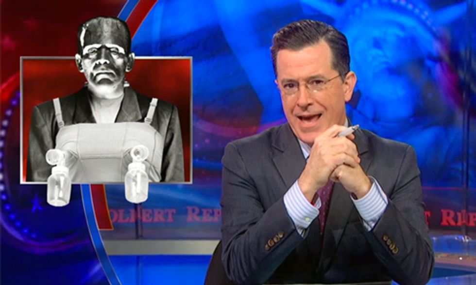 Watch Colbert Make Fun of Frankenstein Milk