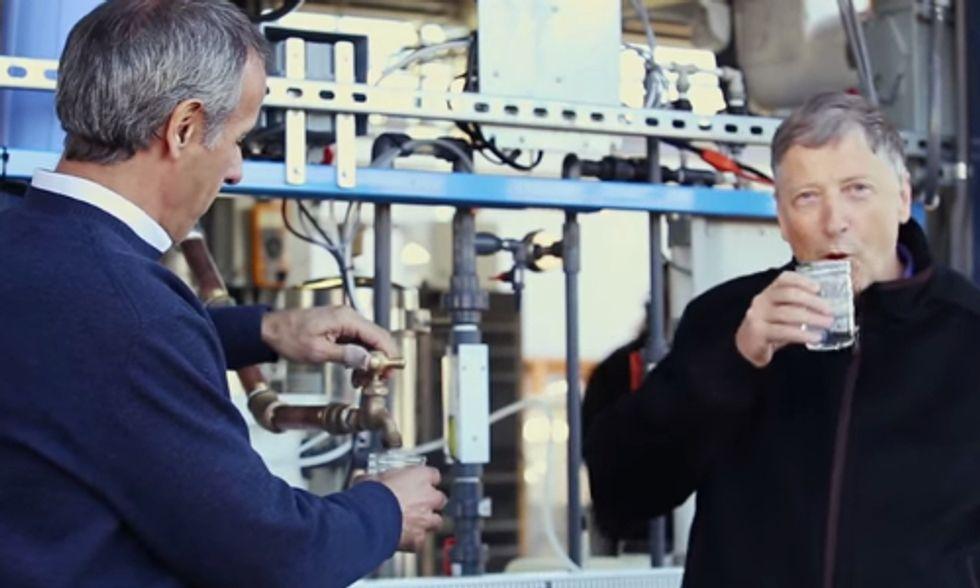 Watch Bill Gates Drink Water From Human Waste