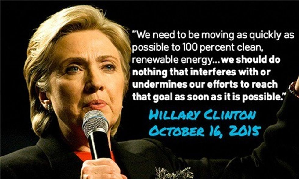 Hillary Clinton Opposes Offshore Drilling, Vows to Look Into Fossil Fuel Industry Donations