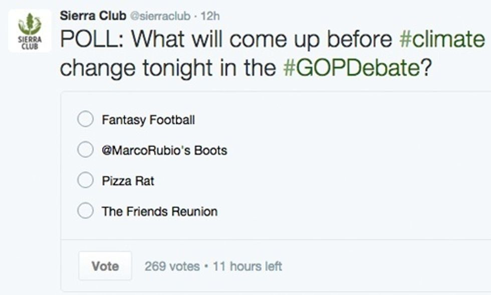 Top 10 Funniest Tweets on #GOPDebate Failing to Mention Climate Change Even Once