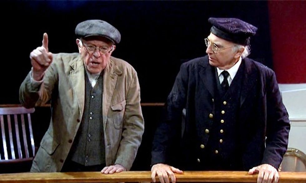 Watch Larry David and Bernie Sanders 'Bern It Up' on Saturday Night Live