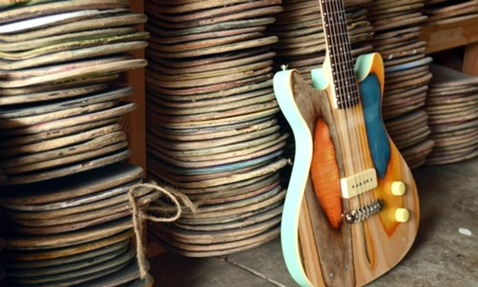 Artist Turns Old Skateboards Into Beautiful New Guitars