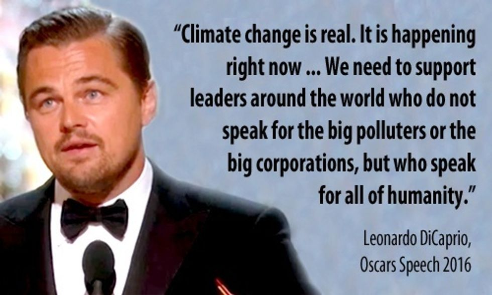 Leonardo DiCaprio Devotes Oscars Speech to Climate Change