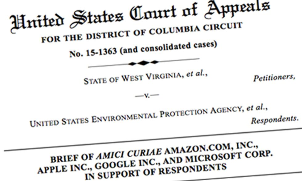 Apple, Google, Amazon and Microsoft File Amicus Brief in Support of the Clean Power Plan