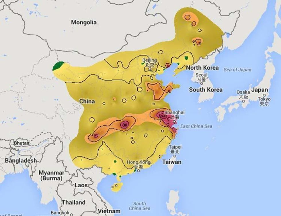 air pollution map china Real Time Map Reveals China S Deadly Air Pollution Ecowatch air pollution map china