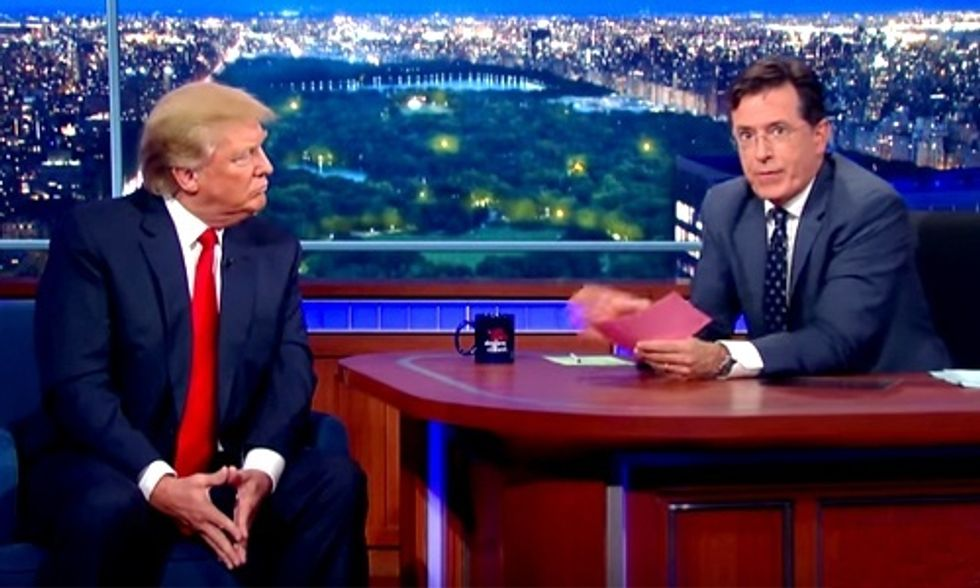 Watch Stephen Colbert Apologize To Donald Trump