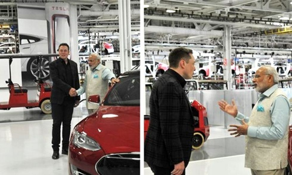 Elon Musk Gives Indian Prime Minister Tour of Tesla Factory, Talks Battery Storage and Solar