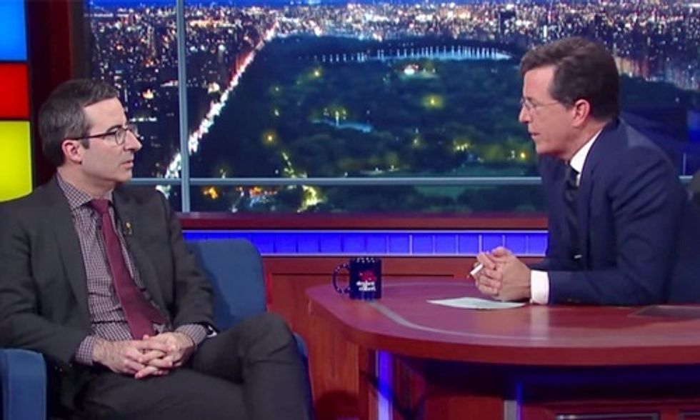 John Oliver to Stephen Colbert: I Couldn't Care Less About Donald Trump