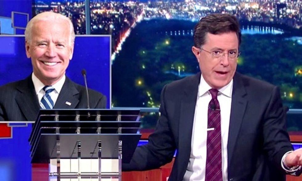 Stephen Colbert Rips CNN for 'Extra Podium' for Biden at Democratic Debate
