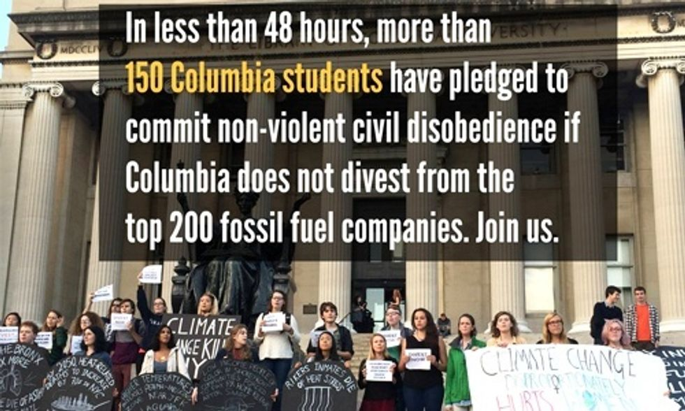 Columbia Students Pledge to Engage in Civil Disobedience Unless University Divests From Fossil Fuels