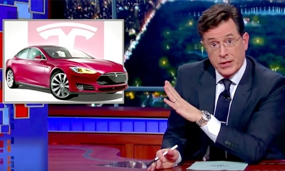 Colbert: I Woke Up Yesterday Morning and My Tesla Could Drive Itself