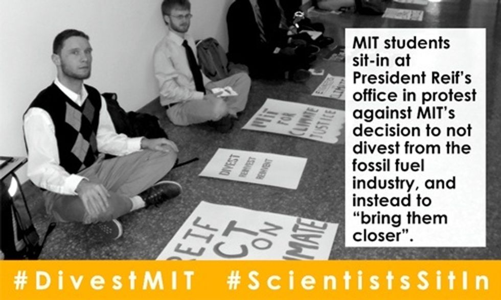 MIT Students: We're Sitting-In at President Reif's Door Until He Divests From Fossil Fuels