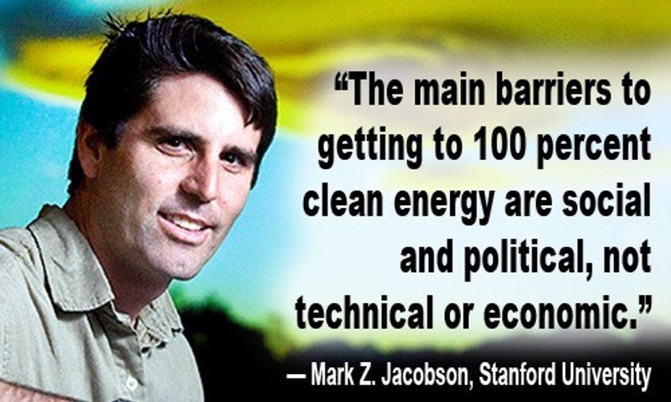 Mark Jacobson: Barriers to 100% Clean Energy are Social and Political, Not Technical or Economic