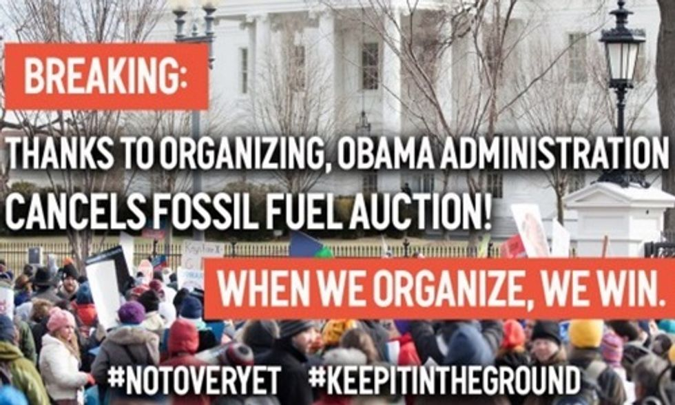 Obama Administration Cancels Major Fossil Fuel Auction as Pressure Mounts From Climate Movement