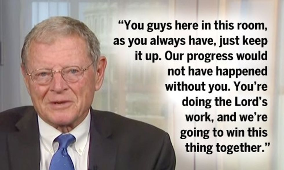 Senator Inhofe to Climate Deniers: 'You're Doing the Lord's Work'