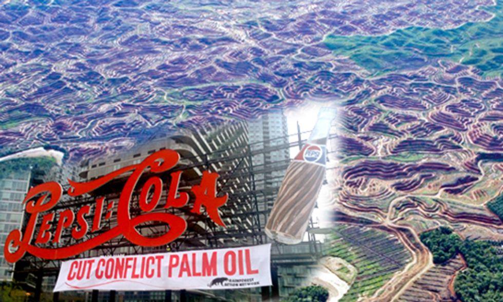 Activists Scale NYC Landmark, Drop Banner: Pepsi Cola, Cut Conflict Palm Oil
