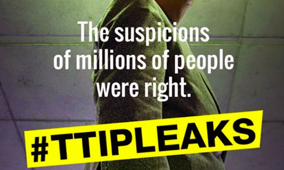 Leaked Documents Confirm TTIP 'Amounts to a Huge Transfer of Power from People to Big Business'
