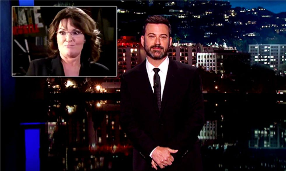 Watch Jimmy Kimmel Slam Sarah Palin for Her Part in Climate Hustle