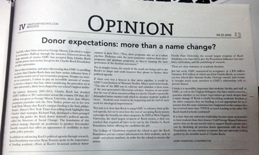 Student Abandons Economics Major at George Mason Over Koch 'Donations'