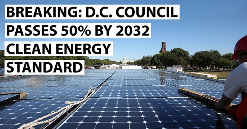 Nation's Capital Takes Major Climate Action Step: Unanimously Approves 50% Renewable Energy Target