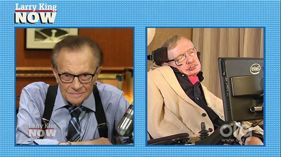 Stephen Hawking to Larry King: 'We Certainly Have Not Become Less Greedy or Less Stupid'