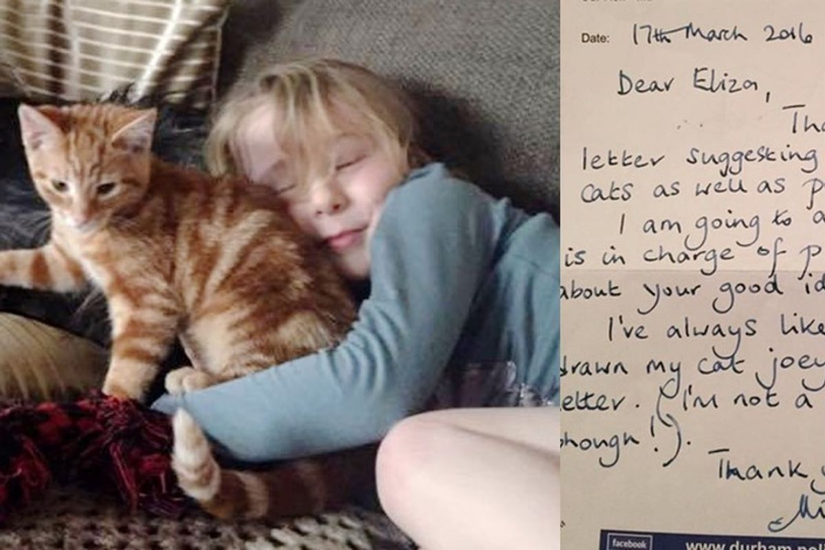 5-year-old Girl Suggests to Police to Recruit Cats, They Write Back