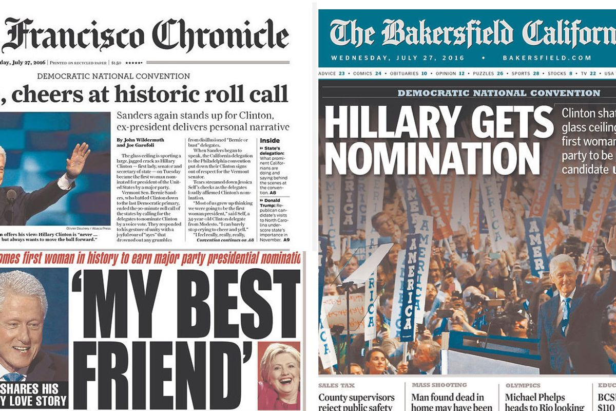 Latently Sexist Newspapers Illustrated Hillary Clinton's Nomination Win With Pictures of Men