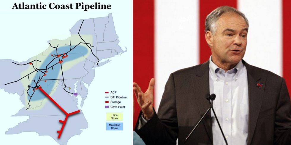 Fracking Pipeline Puts Tim Kaine's Fossil Fuel Industry Ties to the Test