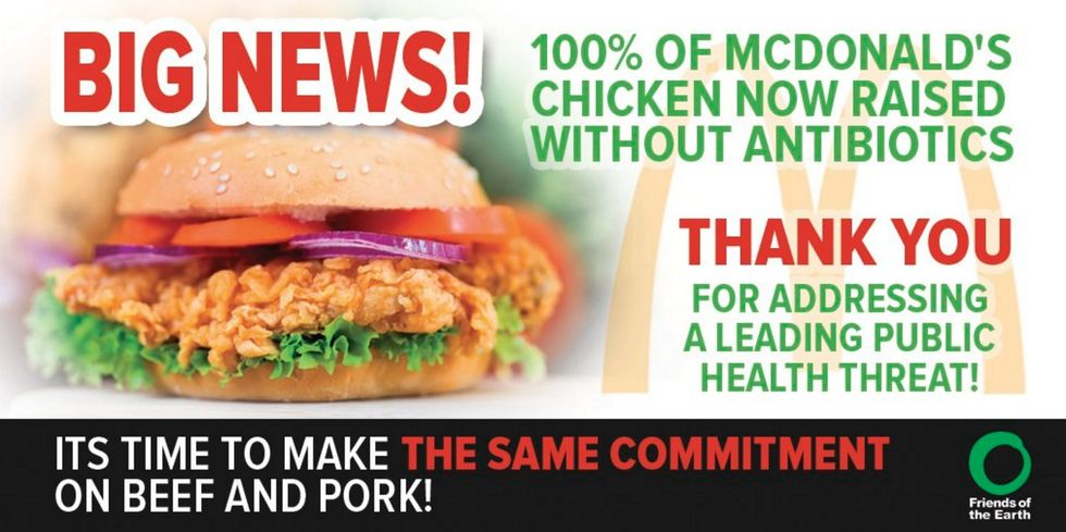 100% of McDonald's Chicken Now Raised Without Antibiotics