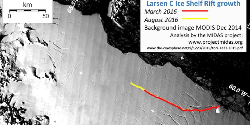 Delaware-Sized Chunk of Ice Could Dislodge from Antarctic Shelf
