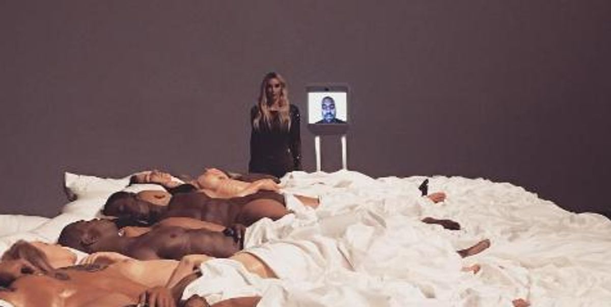 Kim And Robot Kanye Hosted A Private Viewing Of The 'Famous' Sculpture At An LA Gallery