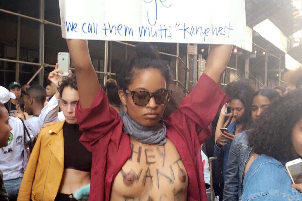 """Updated: The Topless Yeezy Protestor Who Crashed Kanye's """"Multiracial Women Only"""" Casting Call Pens An Essay"""