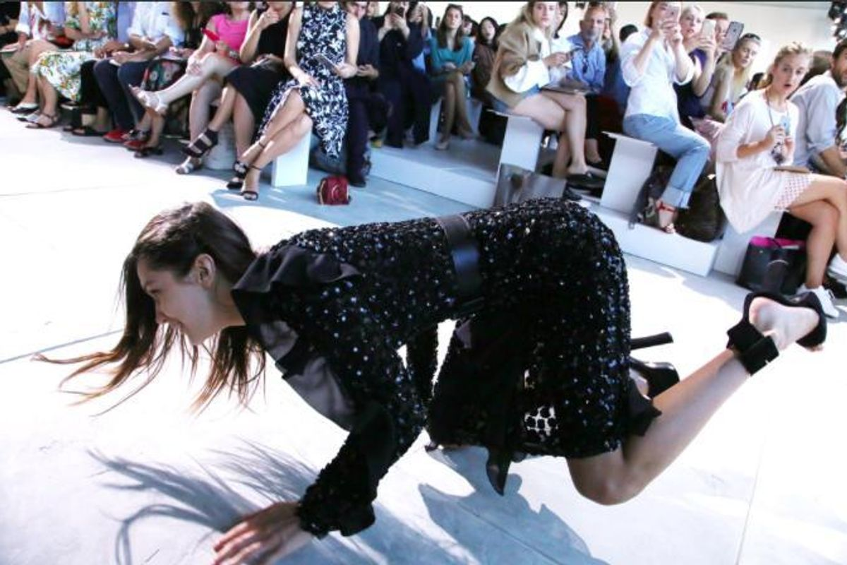 Bella Hadid Wiped Out On the Michael Kors Runway