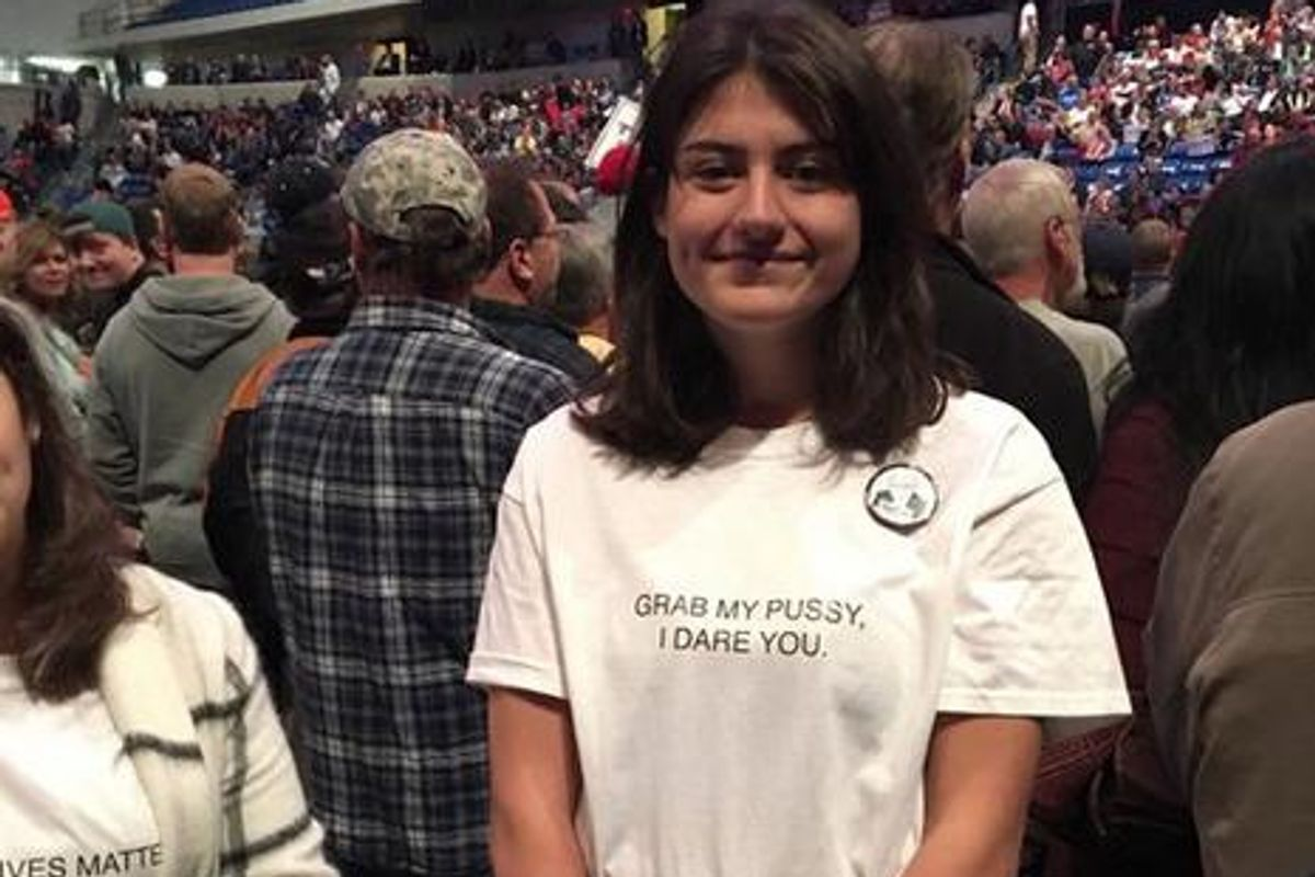 "Teen Wears ""Grab My Pussy"" Shirt To Trump Rally As Protest, Becomes National Hero"