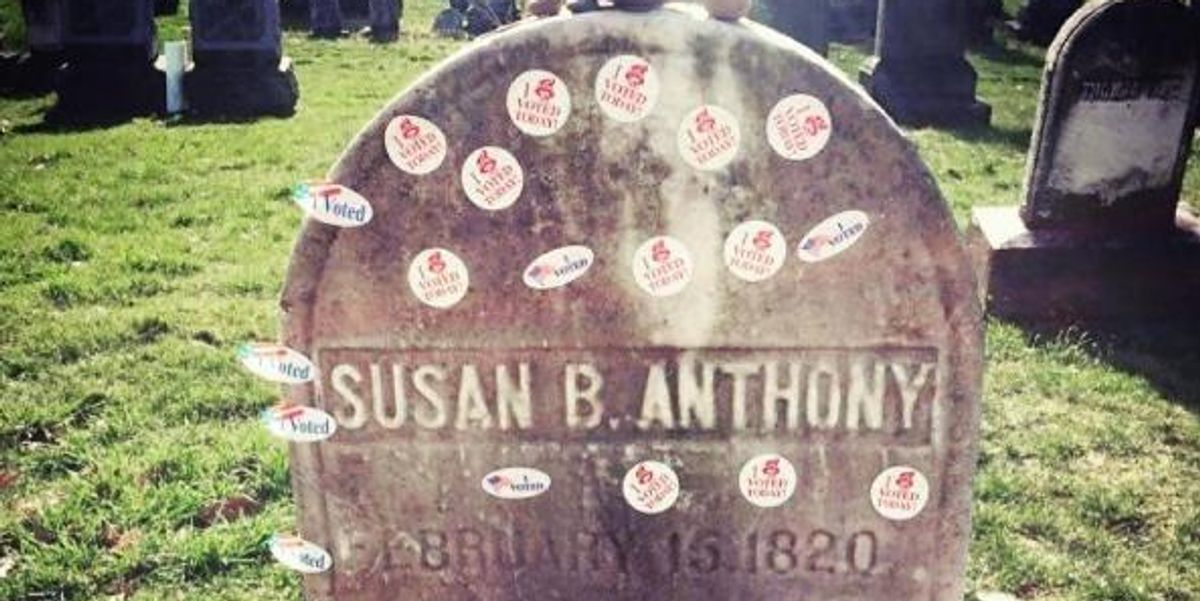 Women Are Putting Their 'I Voted' Stickers On Susan B. Anthony's Grave
