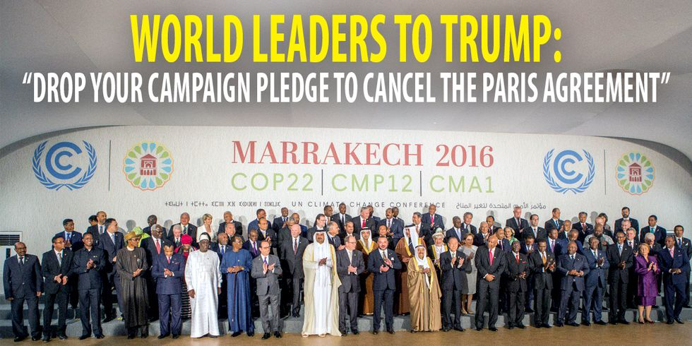 World Leaders Call on Trump to 'Drop His Campaign Pledge to Cancel the Paris Agreement'