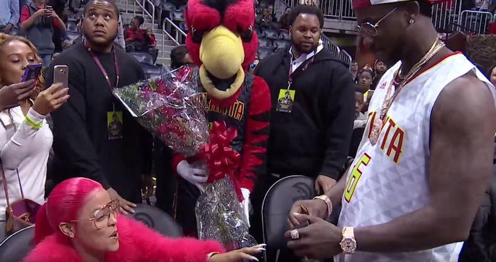 Watch Gucci Mane Propose To Keyshia Ka'oir At An Atlanta Hawks Game