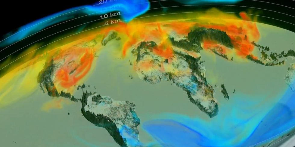 NASA Produces First 3D Animation of Global Carbon Emissions