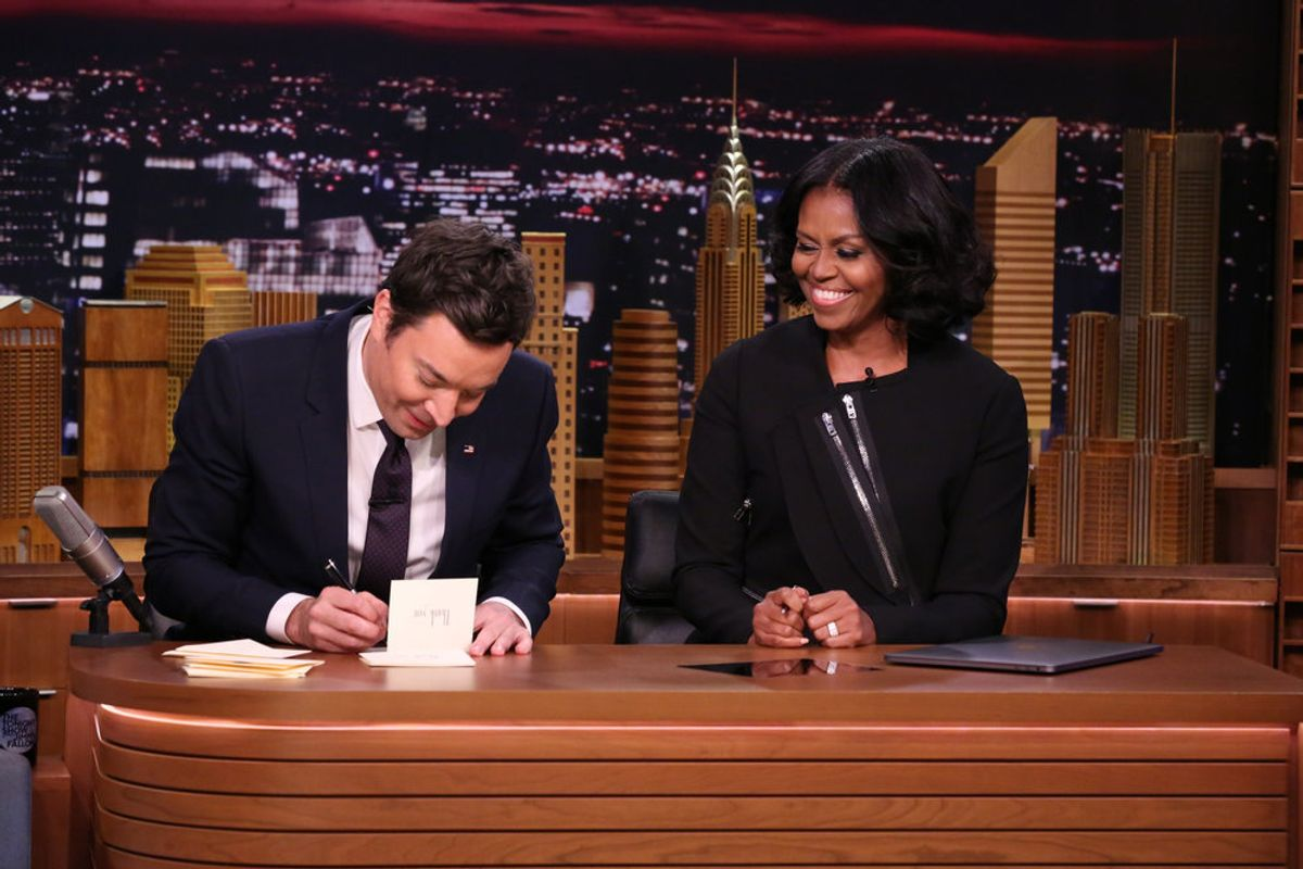 Watch Michelle Obama's Final Television Appearance As FLOTUS On 'Late Night'; Weep
