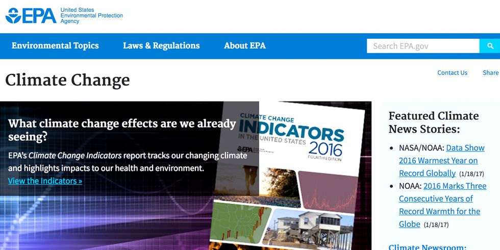 Trump Administration Tells EPA to Cut Climate Change Page From Website