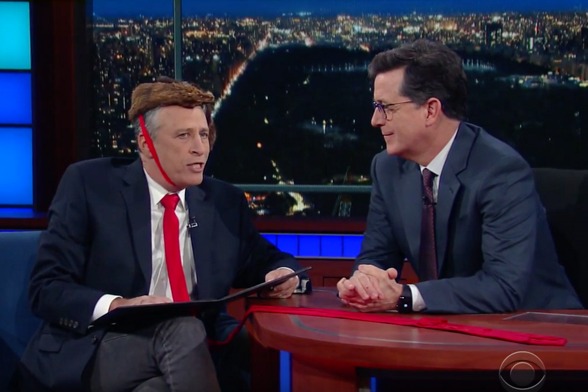 Watch Jon Stewart Crash 'The Late Show' In Trump Drag To Rally The Resistance